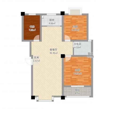 星河城3室2厅2卫1厨127.00㎡户型图