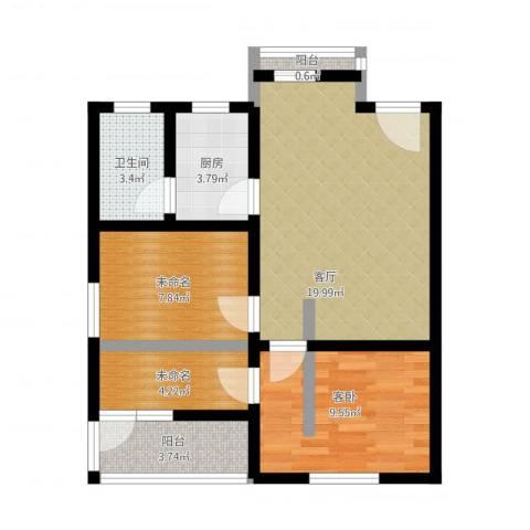 共和怡苑1室1厅1卫1厨80.00㎡户型图