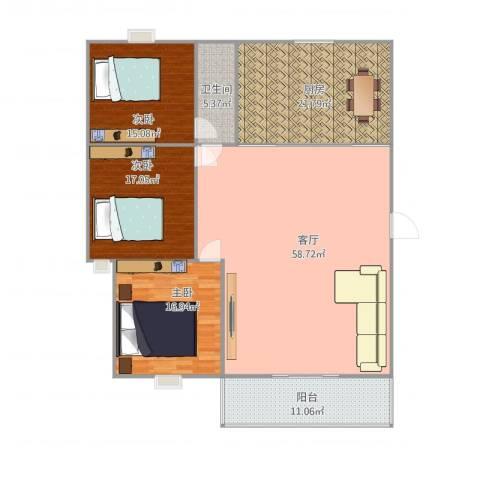 美景园3室1厅1卫1厨192.00㎡户型图