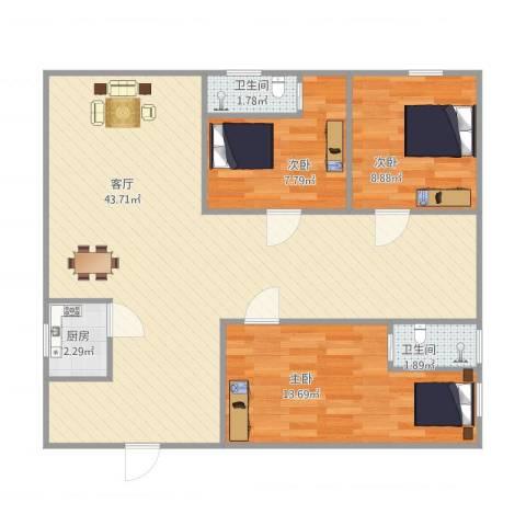 锦园坊3室1厅2卫1厨108.00㎡户型图