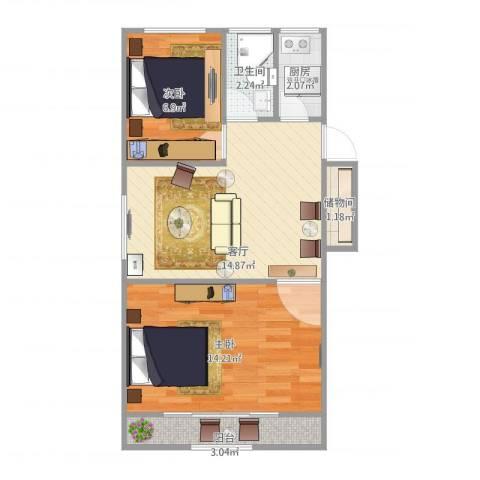 南泉苑2室1厅1卫1厨61.00㎡户型图