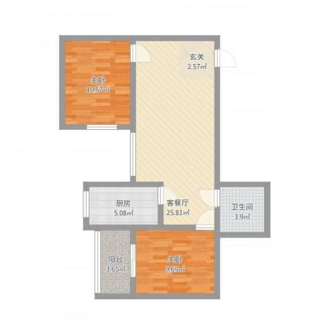 龙悦湾三期2室2厅1卫1厨85.00㎡户型图