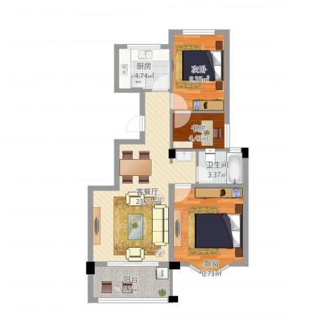 姚江上上城3室2厅1卫1厨91.00㎡户型图