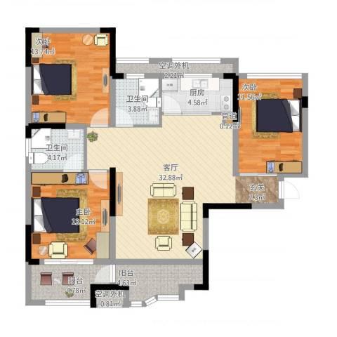 奥克斯盛世华庭3室1厅3卫3厨139.00㎡户型图