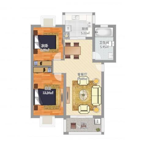 河风丽庭2室2厅1卫1厨88.00㎡户型图