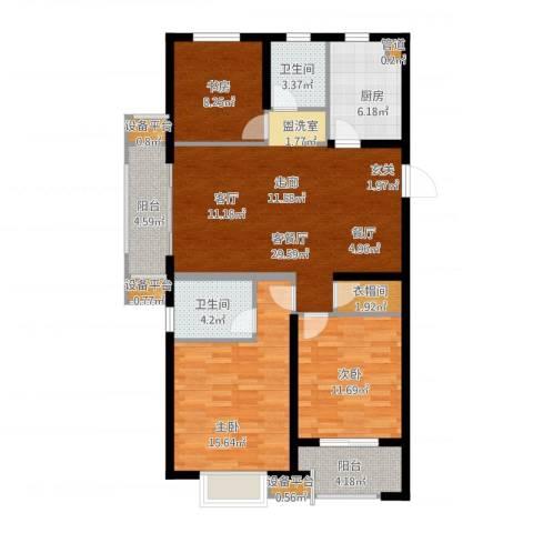 万科金域传奇3室2厅4卫4厨131.00㎡户型图