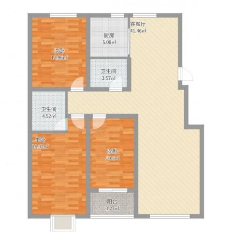 御品星城3室2厅2卫1厨138.00㎡户型图