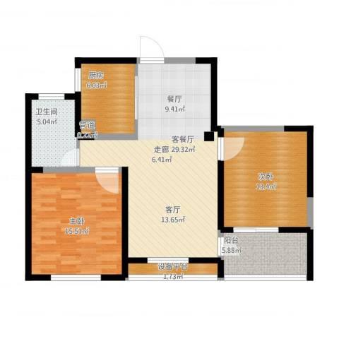 长江国际・朗庭2室2厅1卫1厨111.00㎡户型图