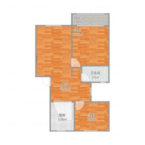 汇成四村2室1厅1卫1厨76.00㎡户型图