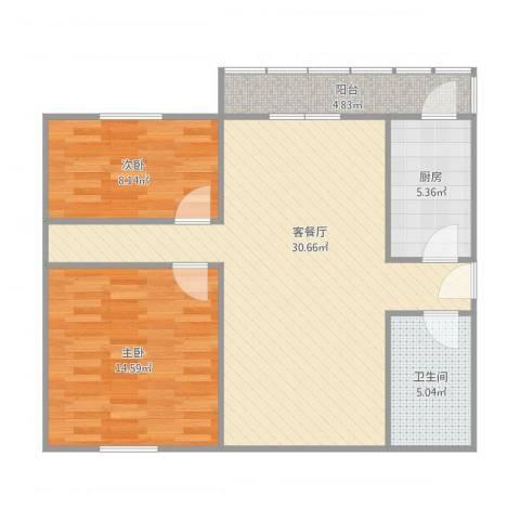 万隆桃香园2室2厅1卫1厨93.00㎡户型图