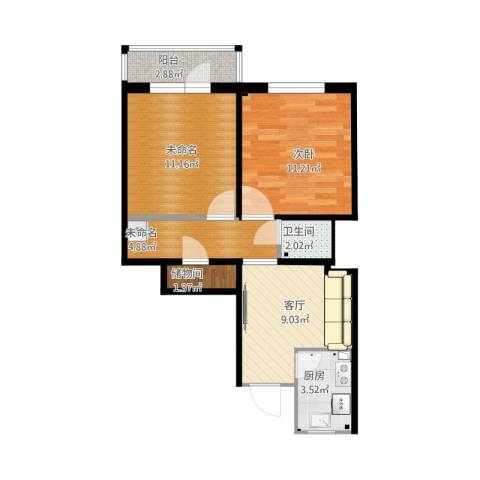 新源西里中街1室1厅1卫1厨66.00㎡户型图