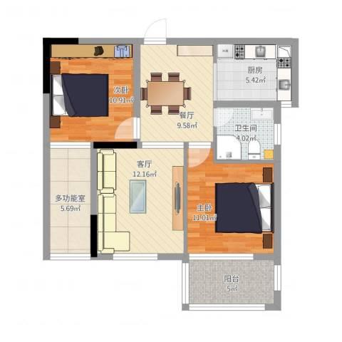 景城名郡2室2厅1卫1厨93.00㎡户型图