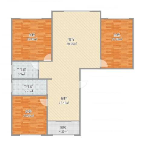 御景名都3室1厅2卫1厨155.00㎡户型图