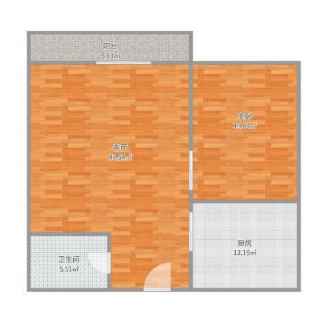 新城花园1-4201室1厅1卫1厨113.00㎡户型图