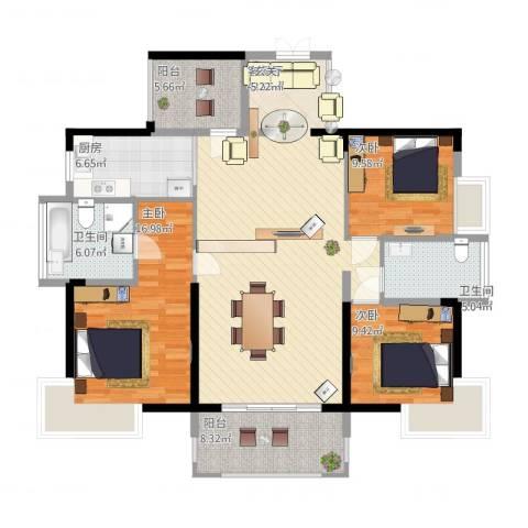 宝能太古城3室2厅2卫1厨156.00㎡户型图