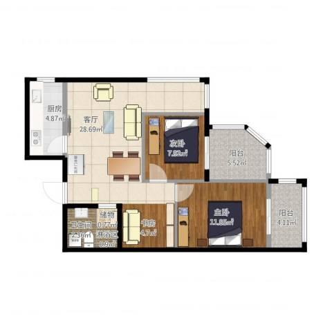 城市亮点2室1厅2卫1厨94.00㎡户型图