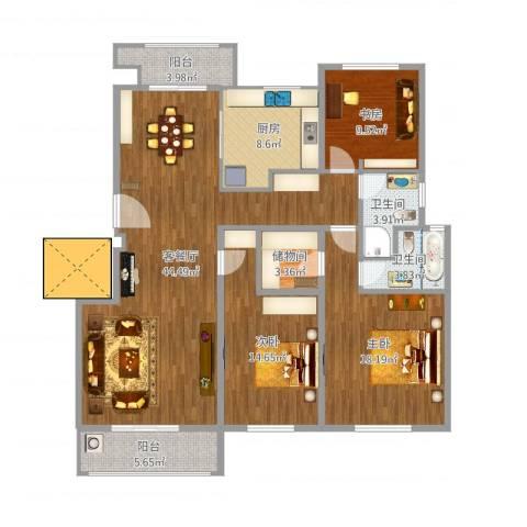 保集澜湾3室2厅2卫1厨162.00㎡户型图