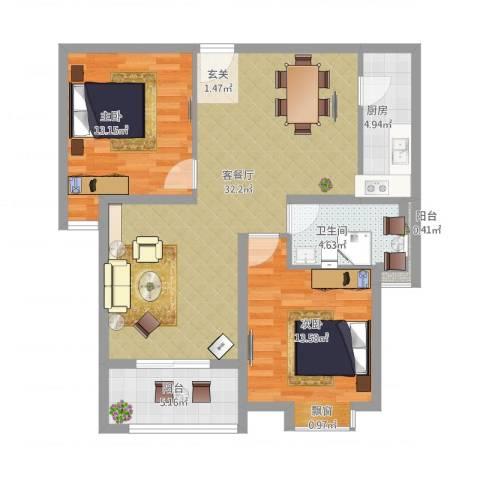 东方・海逸豪园2室2厅1卫1厨105.00㎡户型图