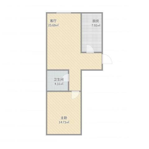 当代名筑1室1厅1卫1厨71.00㎡户型图