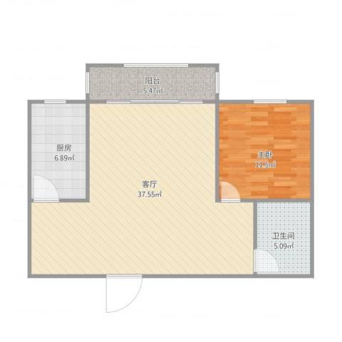 清联花园1室1厅1卫1厨89.00㎡户型图