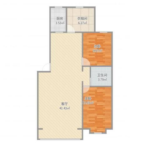 福景佳苑2室1厅1卫1厨95.00㎡户型图