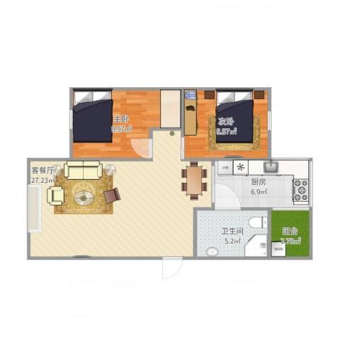 天平花苑2室2厅1卫1厨82.00㎡户型图