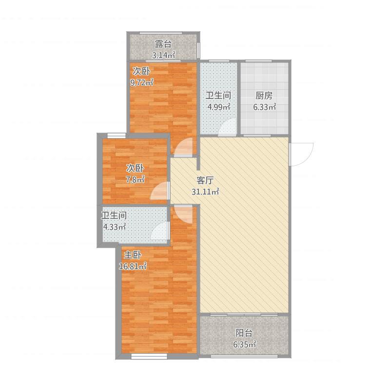 万象新城117.3方三室二厅二卫