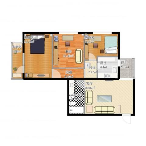 黄寺大街24号院1室1厅3卫4厨104.00㎡户型图