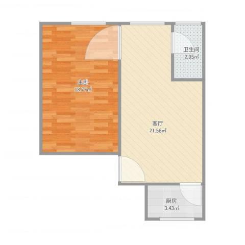 国贸宿舍1011室1厅1卫1厨62.00㎡户型图