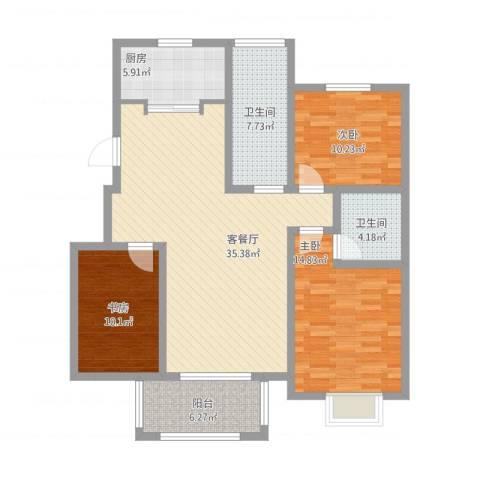 苏商御景湾3室2厅2卫1厨136.00㎡户型图