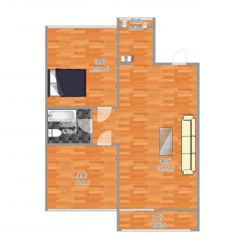 龙海公寓2室1厅1卫1厨102.00㎡户型图