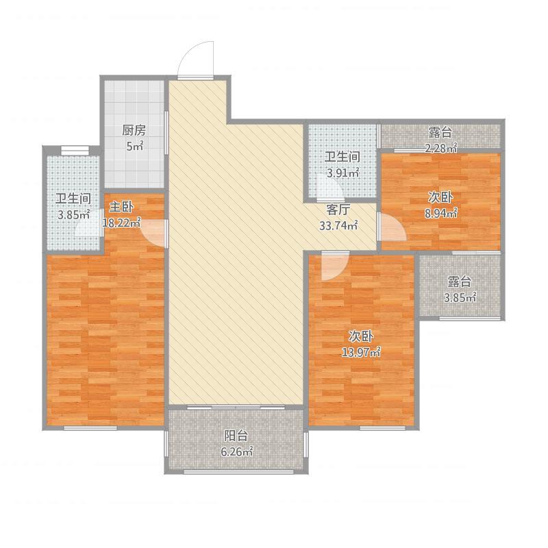 万象新城121.3方三室二厅二卫
