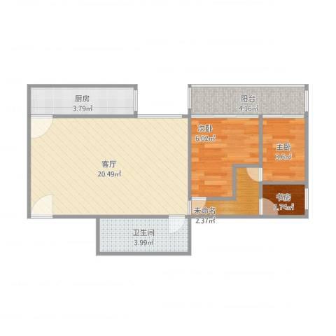 四方景园一区3室1厅1卫1厨64.00㎡户型图