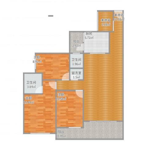 花园1号3室2厅2卫1厨138.00㎡户型图