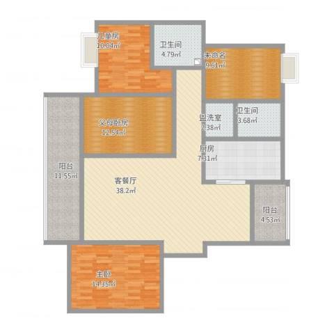 南池水景园B32室4厅2卫1厨168.00㎡户型图