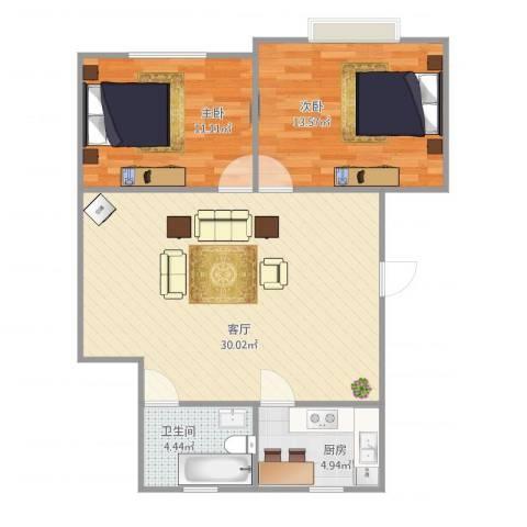 新城花园85㎡2室1厅1卫1厨85.00㎡户型图