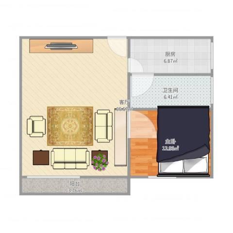 达安春之声花园1室1厅1卫1厨88.00㎡户型图