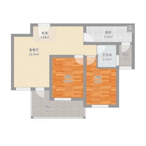 玉屏府2室2厅1卫1厨89.00㎡户型图