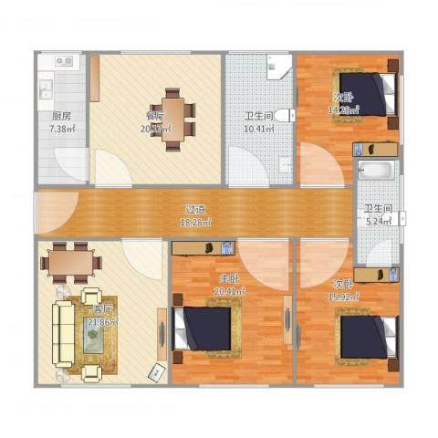 莲花公寓(普陀)3室2厅2卫1厨143.00㎡户型图