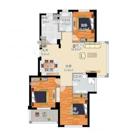四季翠园3室2厅5卫1厨150.00㎡户型图