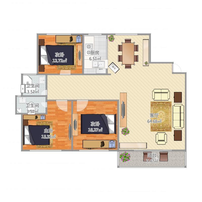 文化绿城138平三居室