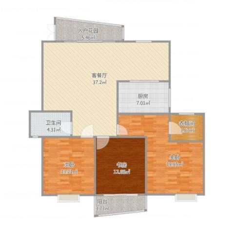 富川瑞园3室2厅1卫2厨133.00㎡户型图