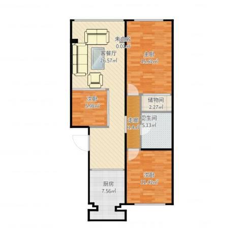 丰卉家园3室2厅2卫1厨106.00㎡户型图