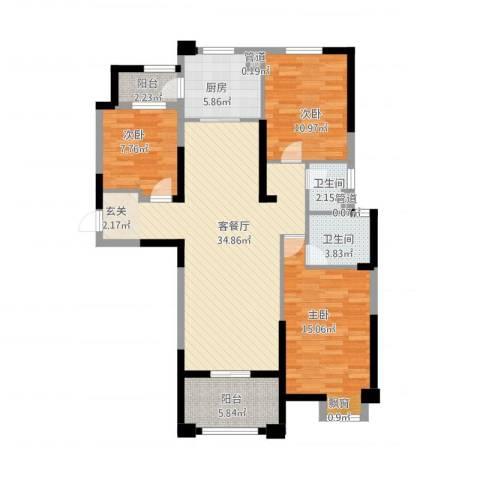 安阳碧桂园3室2厅2卫1厨127.00㎡户型图