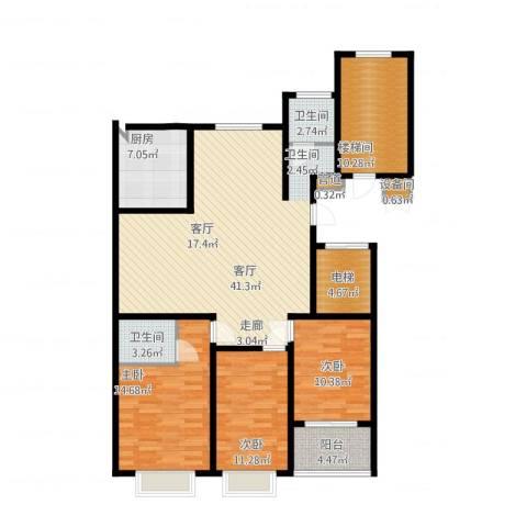 裕昌大学城3室1厅2卫1厨158.00㎡户型图