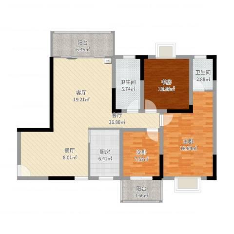 长虹百花沁苑3室1厅2卫1厨138.00㎡户型图