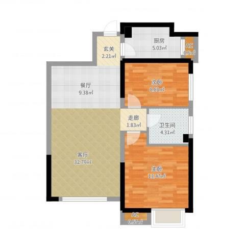 荔城公馆2室1厅1卫1厨94.00㎡户型图