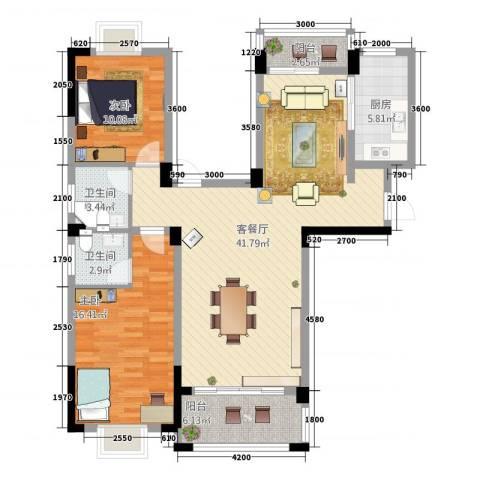 水澜山二期2室2厅2卫1厨128.00㎡户型图