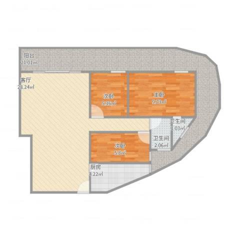 新丰年大厦3室1厅2卫1厨106.00㎡户型图