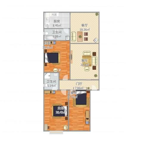 鸿福大厦3室2厅2卫1厨165.00㎡户型图
